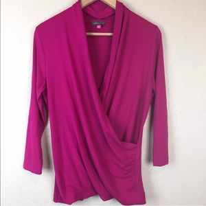 Vince Camuto 3/4 Sleeve Faux Wrap Top